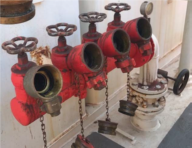 Firefighting hoses on a ship