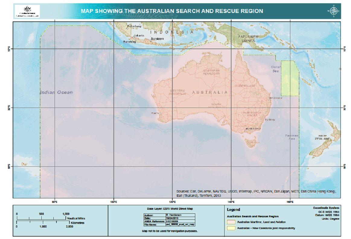 map showing Australia's search and rescue region