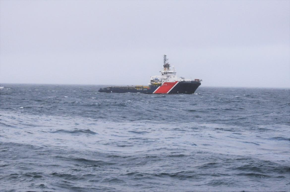 Image of the NOFO Vessel surveying waters with floating oil slicks during the Oil on Water exercise