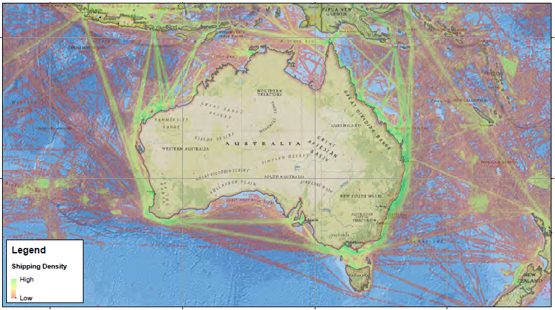 Shipping routes to and from Australian ports in 2016