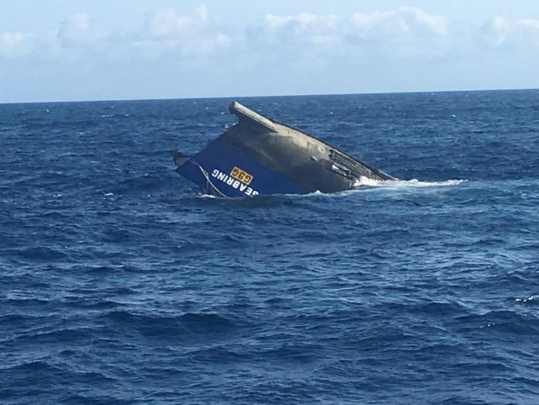 FV Evlandter Two upturned in the ocean